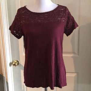 Burgundy top with lace detail